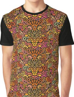 Funny Colorful Seamless Pattern with Abstract Flowers, Leaves, Hearts, Crowns, Eggs, Keys, Etc. on Black Background Graphic T-Shirt