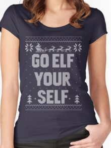 Go Elf Your Self Christmas Knit Women's Fitted Scoop T-Shirt