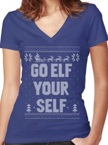 Go Elf Your Self Christmas Knit Women's Fitted V-Neck T-Shirt