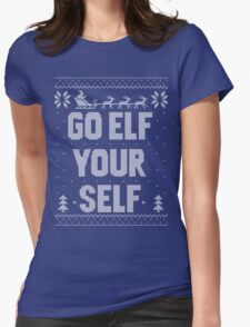 Go Elf Your Self Christmas Knit Womens Fitted T-Shirt