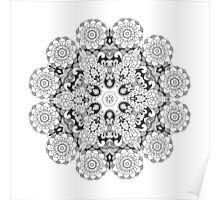 Beautiful black white floral mandala Poster