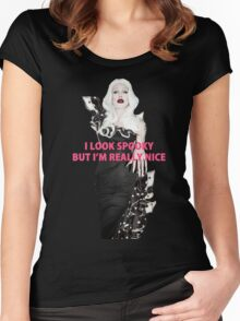 SHARON NEEDLES - I LOOK SPOOKY BUT I'M REALLY NICE Women's Fitted Scoop T-Shirt