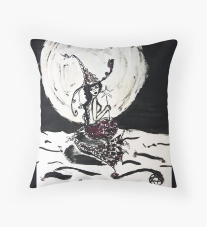 Witchy Mermaid in the Moonlight Ink Art Throw Pillow