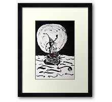 Witchy Mermaid in the Moonlight Ink Art Framed Print