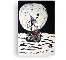 Witchy Mermaid in the Moonlight Ink Art Canvas Print