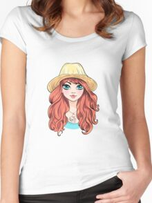 Girl in hat with red hair Women's Fitted Scoop T-Shirt