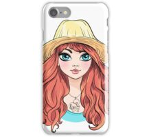 Girl in hat with red hair iPhone Case/Skin