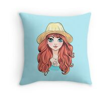 Girl in hat with red hair Throw Pillow