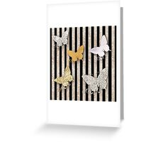 Gold,silver,glitter,glam,black,rustic,butterflies,pattern,modern,trendy Greeting Card