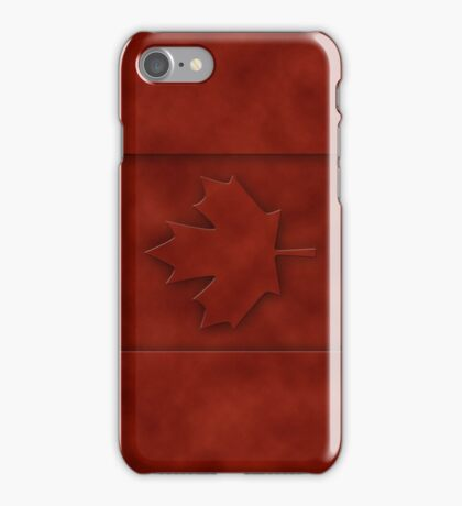 Leather engraved Canada flag iPhone Case/Skin