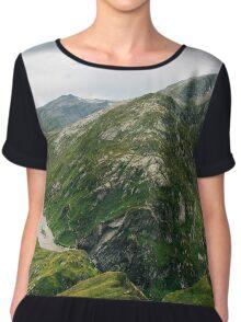 Swiss Alpine Mountain Chain with Greina High Plain Chiffon Top