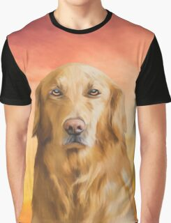 Golden Retriever Dog Water Color Art Oil Painting Graphic T-Shirt
