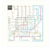 Shanghai metro map  Art Print