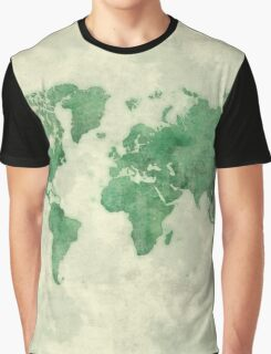 World Map Green Graphic T-Shirt