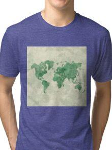 World Map Green Tri-blend T-Shirt