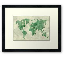 World Map Green Framed Print