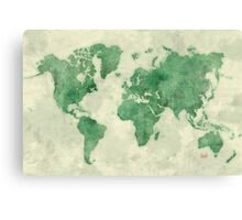 World Map Green Canvas Print
