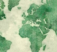World Map Green Sticker