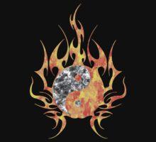 Fire Watercolor yin yang  Kids Tee