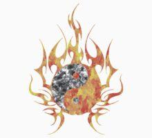 Fire Watercolor yin yang  One Piece - Short Sleeve
