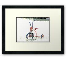 Vintage Red Tricycle | Old Bicycles | Childhood Memories Framed Print