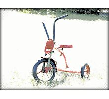 Vintage Red Tricycle | Old Bicycles | Childhood Memories Photographic Print