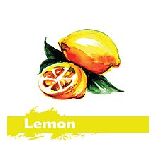 fruit lemon, watercolor,hand drawn Photographic Print