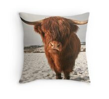 Highland Cow in Snow Throw Pillow