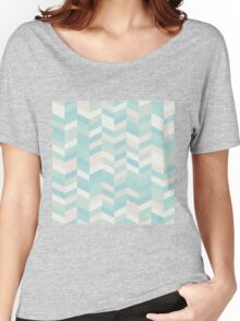 modern,chevron,zig zag,pins,pattern,trendy,pastel colors,teal,pink,cream,mint,green Women's Relaxed Fit T-Shirt