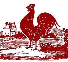 Red Rooster in Farmyard by AntiqueImages