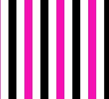 Stripes (Parallel Lines) - Pink Black White  by sitnica