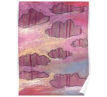 Pink stripy clouds ruled the evening skies. Poster