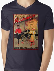 ALUMINIUM CYCLES; Vintage Bicycle Advertising Print Mens V-Neck T-Shirt