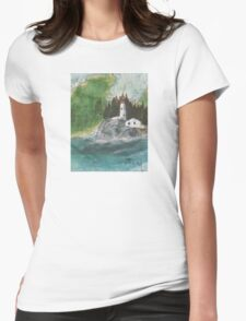 Pt Atkinson Lighthouse BC Canada Nautical Map Cathy Peek Womens Fitted T-Shirt