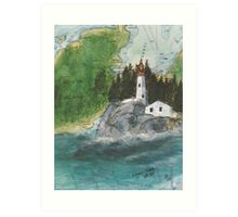 Pt Atkinson Lighthouse BC Canada Nautical Map Cathy Peek Art Print