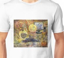 Surrealistic composition with monitor and speakers. Unisex T-Shirt
