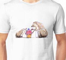 Hedgehog, baby with mom birthday bug cupcake. Unisex T-Shirt