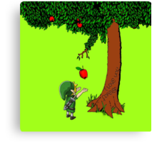 Cute Young Link Zelda With An Apple tree Canvas Print