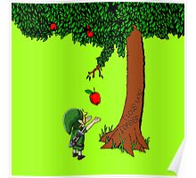 Cute Young Link Zelda With An Apple tree Poster