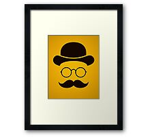 Retro /Minimal vintage face with Moustache & Glasses Framed Print