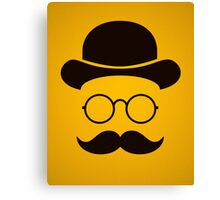 Retro /Minimal vintage face with Moustache & Glasses Canvas Print