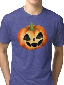 Halloween watercolor pumpkin Tri-blend T-Shirt