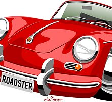 Porsche 356B roadster caricature by car2oonz