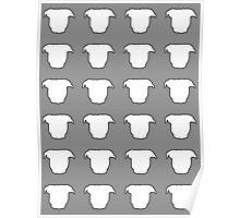 Pit Bull Heads Grey Poster