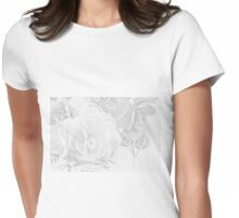 Begonias On Tray - Monochrome Womens Fitted T-Shirt