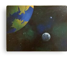 Planets In Space Acrylic Painting Canvas Print