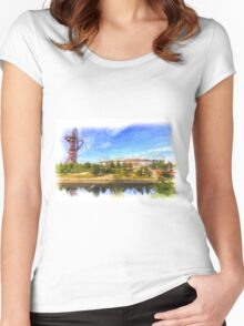 West Ham Olympic Stadium And The Arcelormittal Orbit Art Women's Fitted Scoop T-Shirt