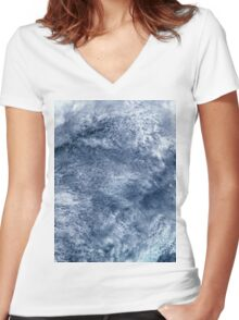 Abstract Clouds Over Ocean Satellite Image Women's Fitted V-Neck T-Shirt