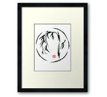 VISIONARY Original sumi-e enso ink brush wash painting Framed Print
