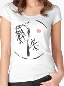 PASSAGE  - Original sumi-e enso ink brush art Women's Fitted Scoop T-Shirt